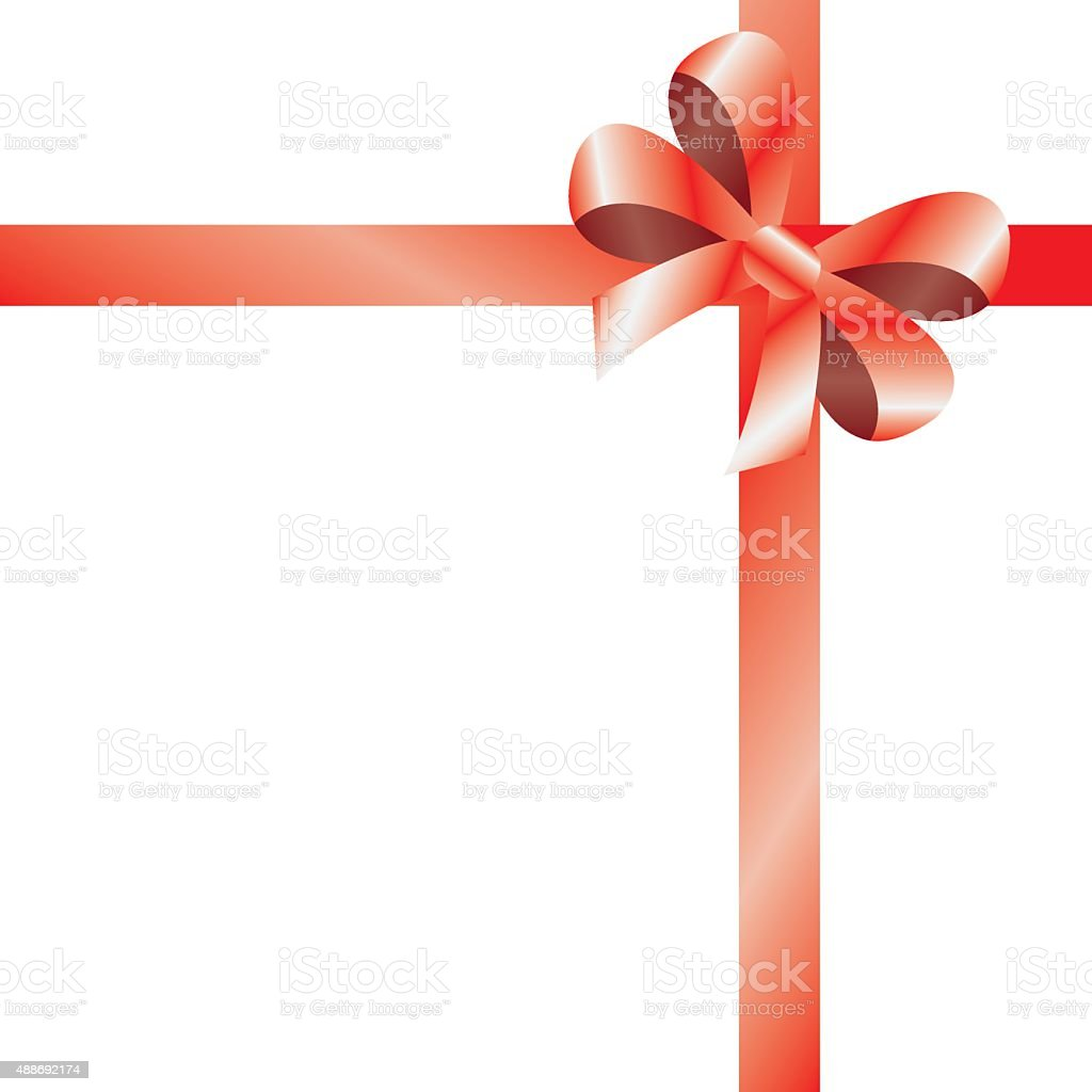 Shiny red satin ribbon on white background. vector art illustration