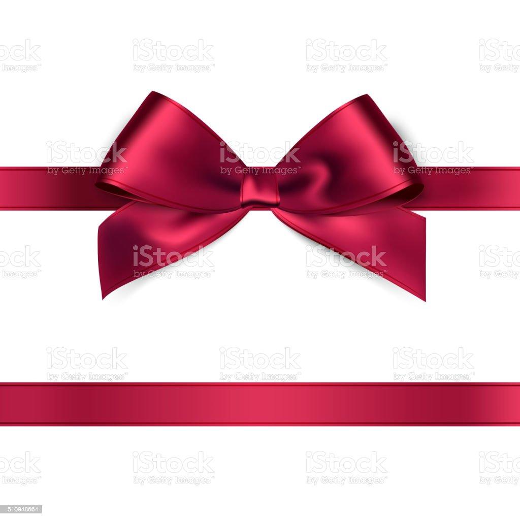 Shiny red satin ribbon on white background vector art illustration