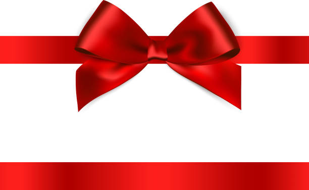 shiny red satin ribbon on white background - valentine's day holiday stock illustrations