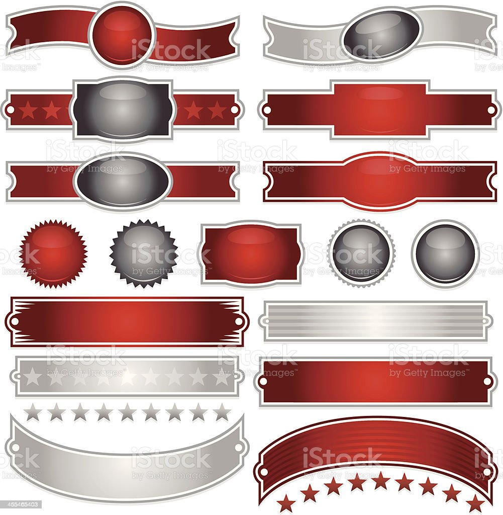Shiny Red, Silver Ribbons, Stickers, Buttons, and Stars Set royalty-free stock vector art