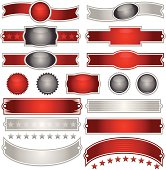 Shiny red, silver ribbons, buttons, seals, stickers, stars. Mix layers.