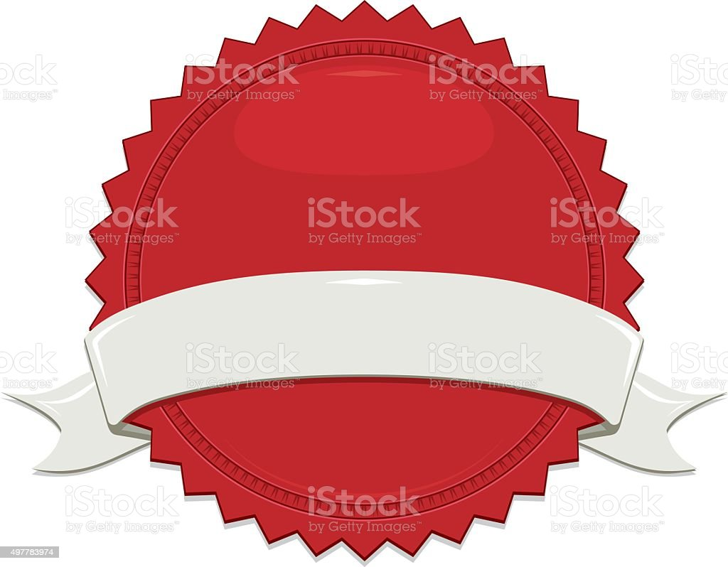 Shiny Red Sticker, Off-White, Beige Ribbon Set vector art illustration