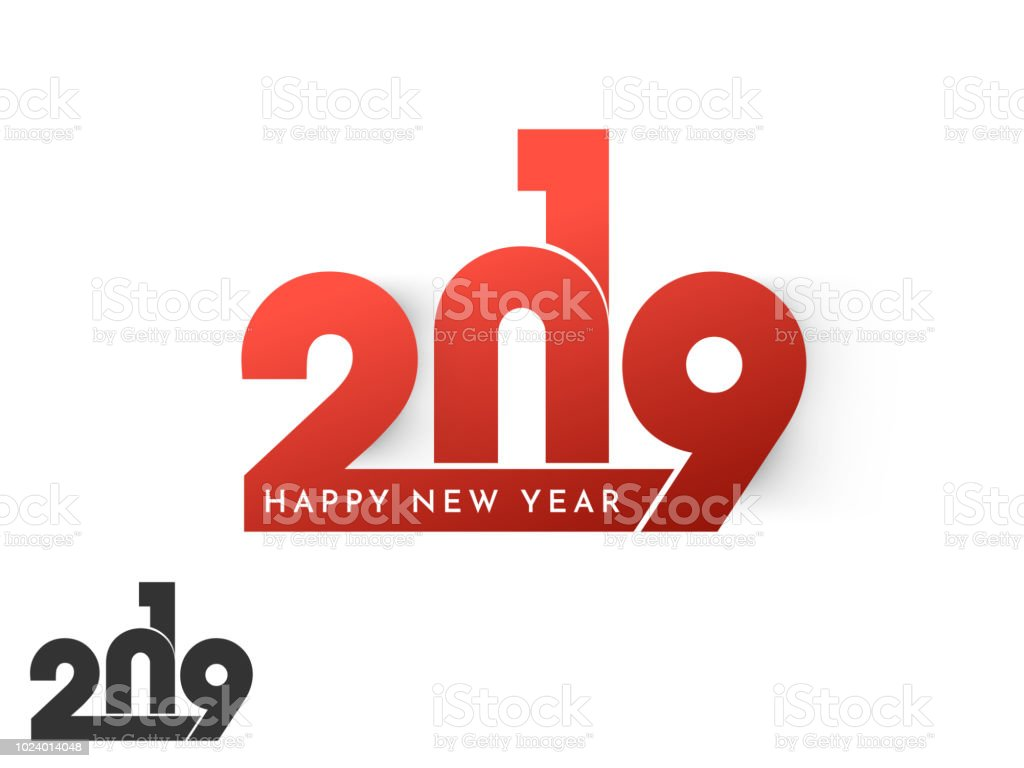 shiny red stylish text 2019 on white background for new year celebration greeting card design