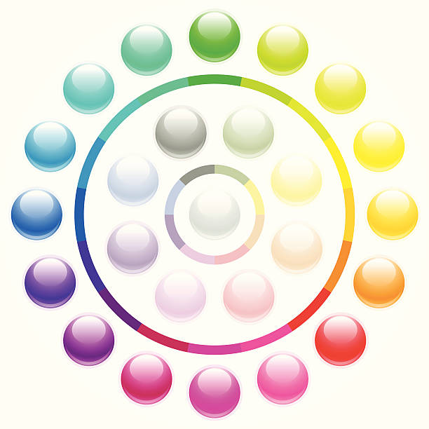 Shiny round buttons - pastels vector art illustration