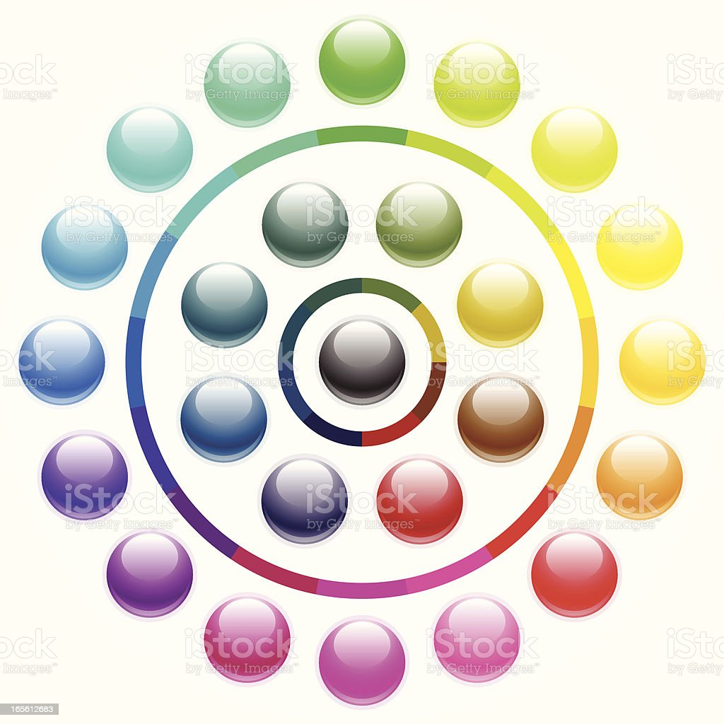 Shiny round buttons - vibrant royalty-free stock vector art