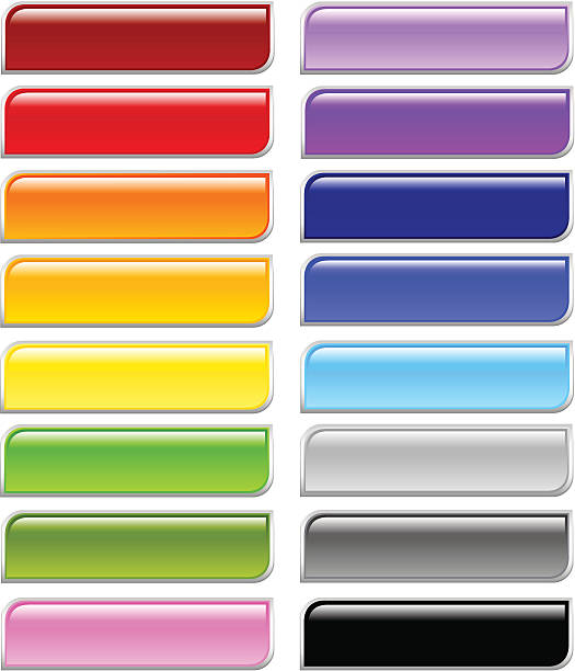 Shiny Rounded Corners Rectangle Menu Buttons vector art illustration