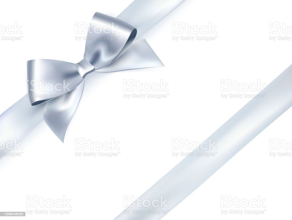 Shiny satin ribbon on white background. Vector silver bow royalty-free shiny satin ribbon on white background vector silver bow stock illustration - download image now