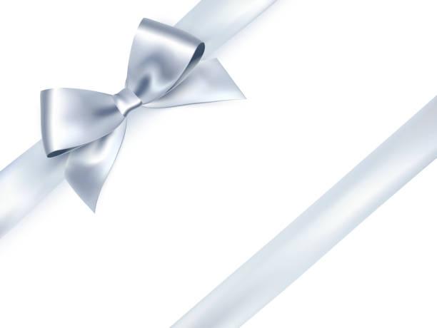 白色背景閃亮緞帶。向量銀弓 - 銀色 幅插畫檔、美工圖案、卡通及圖標