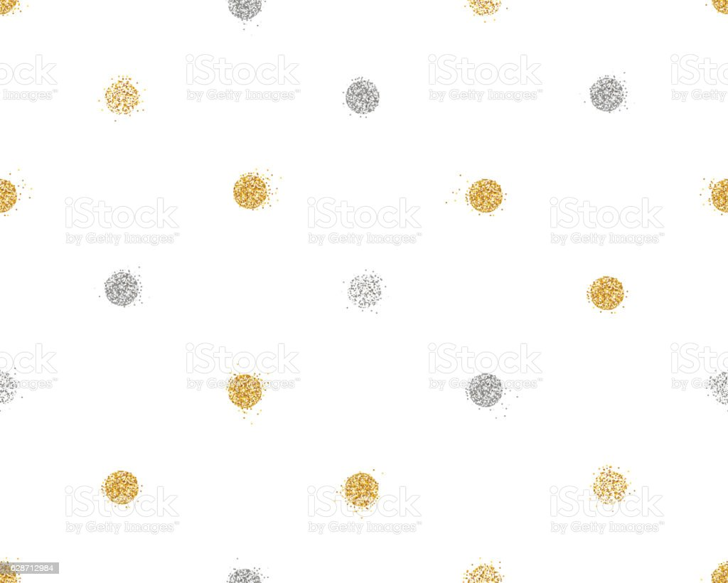 Shiny seamless background with golden and silver glitter dots decoration ベクターアートイラスト
