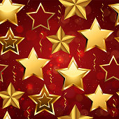 Festive Seamless pattern of realistic golden 3D stars and confetti isolated on red background. Glossy Christmas star icon. Design elements for holidays. Vector illustration EPS 10 file