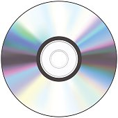 A shiny silver CD with a hole in the middle