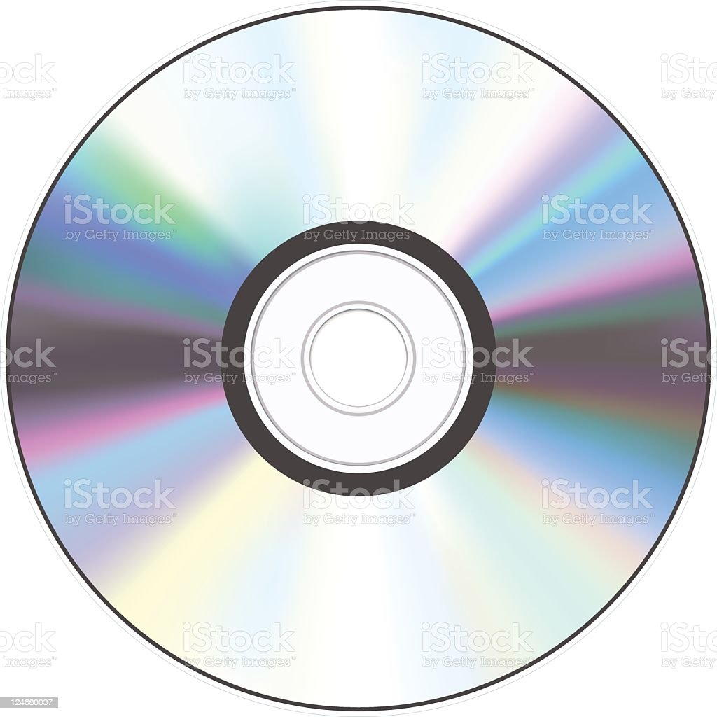 A shiny silver CD with a hole in the middle vector art illustration