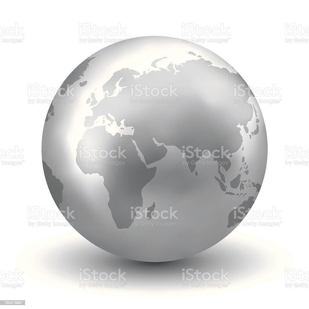 Plata brillante globo de tierra - ilustración de arte vectorial