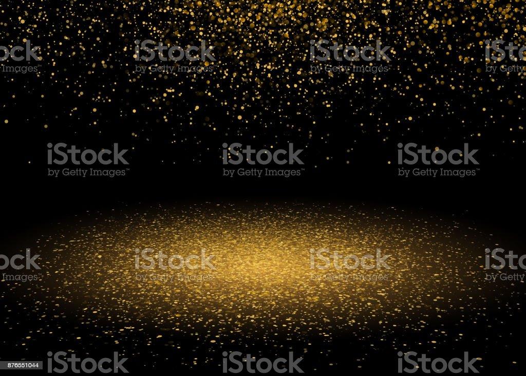 Shiny Star Burst Light with Gold Glitter Sparkles. Shining Motion Luxury Design. Magic Golden Light Effect. Vector Illustration on Black Background vector art illustration