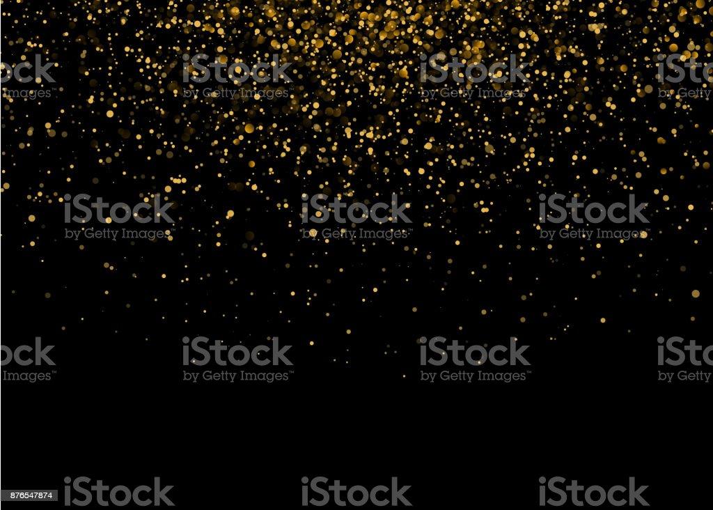 Shiny Star Burst Light with Gold Luxury Sparkles. Magic Golden Light Effect. Vector Illustration on Black Background