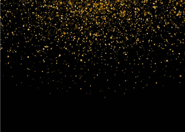 Shiny Star Burst Light with Gold Luxury Sparkles. Magic Golden Light Effect. Vector Illustration on Black Background vector art illustration