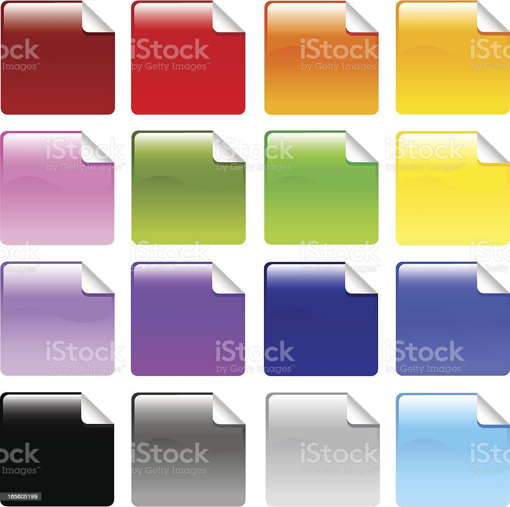 Shiny Sticky Square Icon Buttons vector art illustration