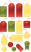 istock Shiny Stitched Gift, Price, Luggage Tags, Labels: Red, Green, Yellow 455428381