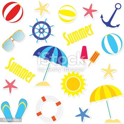 istock Shiny Summer Day Collections. Coastal design element set. Summer clip art collection. 1220574261