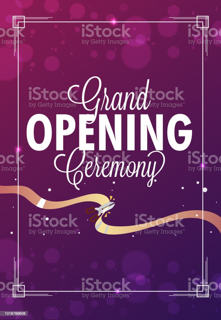 shiny template or flyer design for grand opening ceremony with