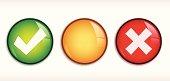 Vector shiny Tick/Cross badge illustration.