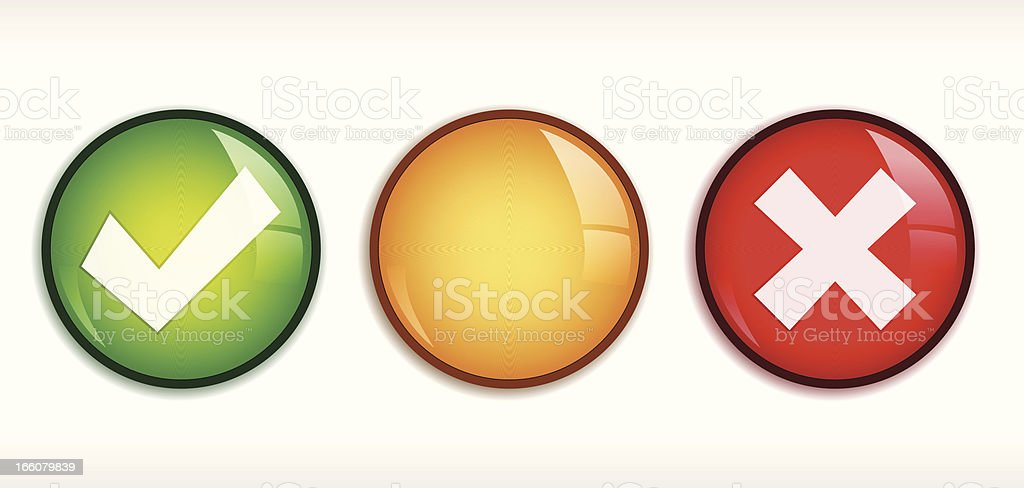 Shiny Tick/Cross badge set vector art illustration