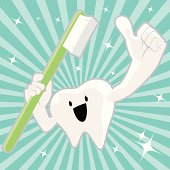 Vector illustration – Cute Shiny Tooth Character Holding Toothbrush And Gesturing Thumbs Up.