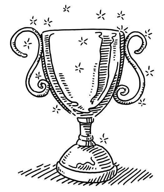 Shiny Trophy Success Symbol Drawing Hand-drawn vector drawing of a Shiny Trophy Success Symbol. Black-and-White sketch on a transparent background (.eps-file). Included files are EPS (v10) and Hi-Res JPG. sport stock illustrations