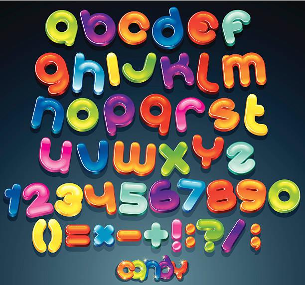 glänzende vektor-schrift - schriftsymbol stock-grafiken, -clipart, -cartoons und -symbole
