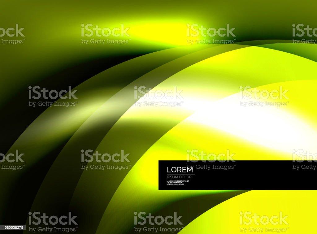 빛나는 벡터 실크 웨이브 초록 배경 royalty-free 빛나는 벡터 실크 웨이브 초록 배경 곡선에 대한 스톡 벡터 아트 및 기타 이미지