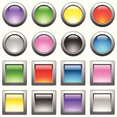 Vector illustration of shiny web buttons with metallic frame.