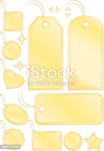 istock Shiny Yellow Stitched Gift or Price Tags, Labels, Luggage ID 455424443