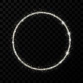 Silver glitter frame. Circle frame with shiny stars and sparkles on dark transparent background. Vector illustration