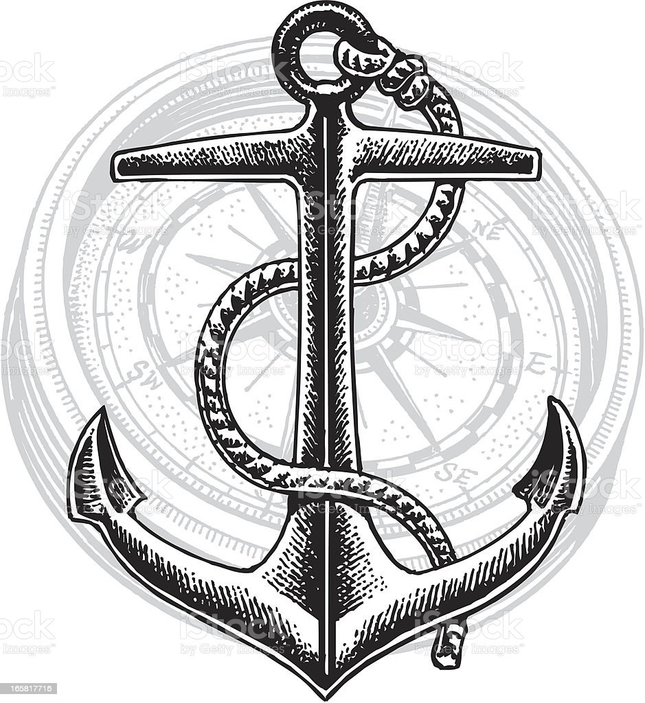 Ship Anchor and Compass Graphic royalty-free ship anchor and compass graphic stock vector art & more images of anchor - vessel part