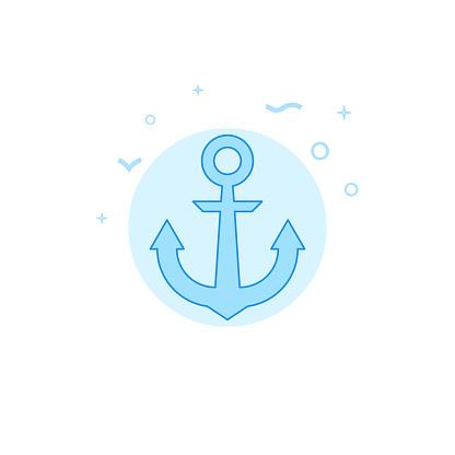 Ship anchor flat vector icon. Filled line style. Blue monochrome design. Editable stroke