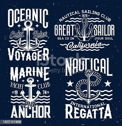 Ship anchor t-shirt print vector templates