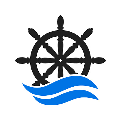 Ship and boat helm steering wheel, boat and maritime rudder icon, ship steering wheels – vector