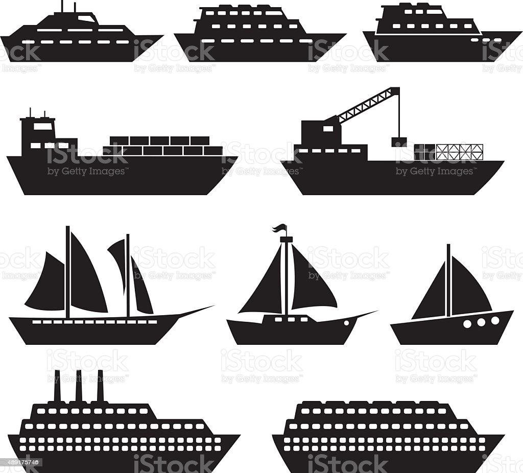 Ship And Boat Icons vector art illustration