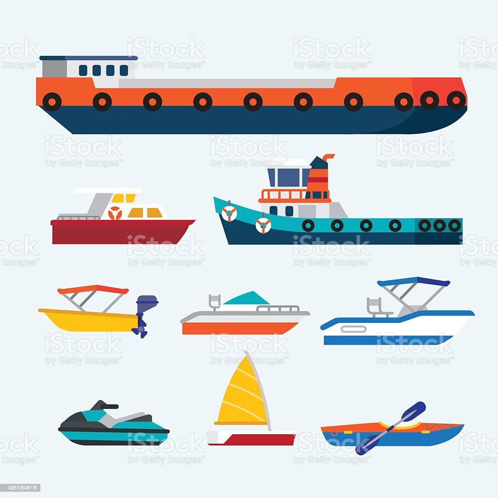 Ship and Boat vector art illustration