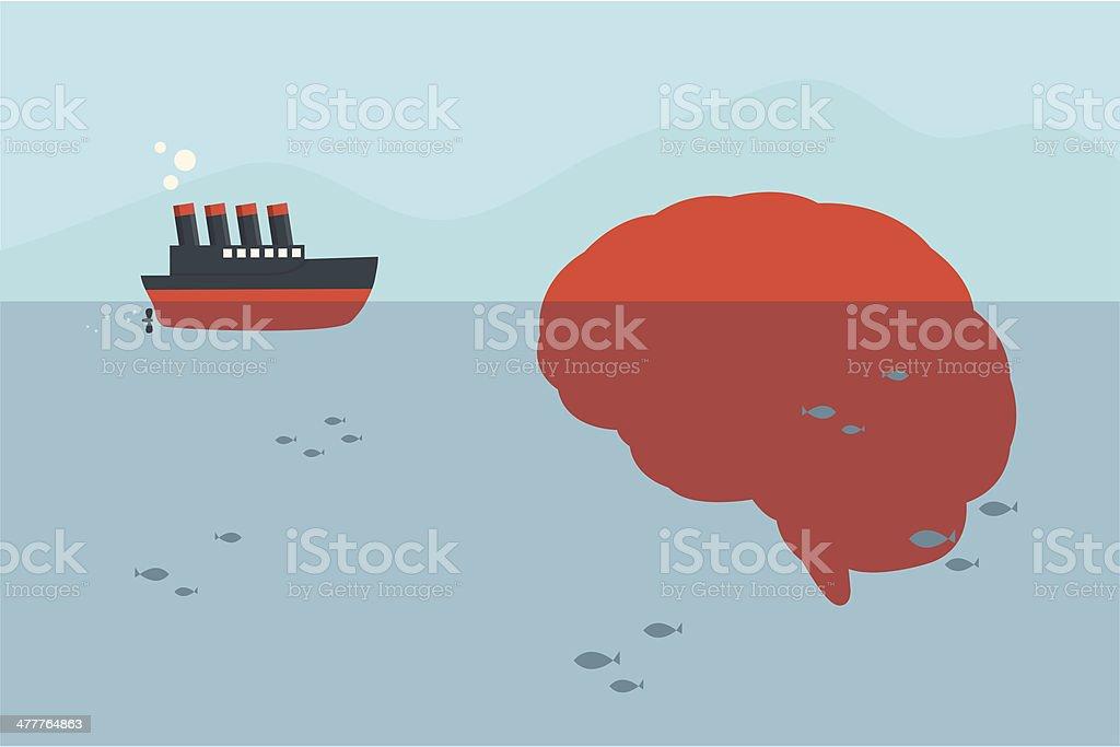 ship and brain iceberg vector art illustration