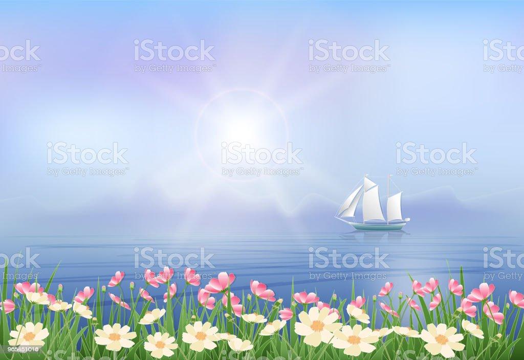 Navire et Cosmos fleurs papier art, paper cut illistration - clipart vectoriel de Arbre en fleurs libre de droits
