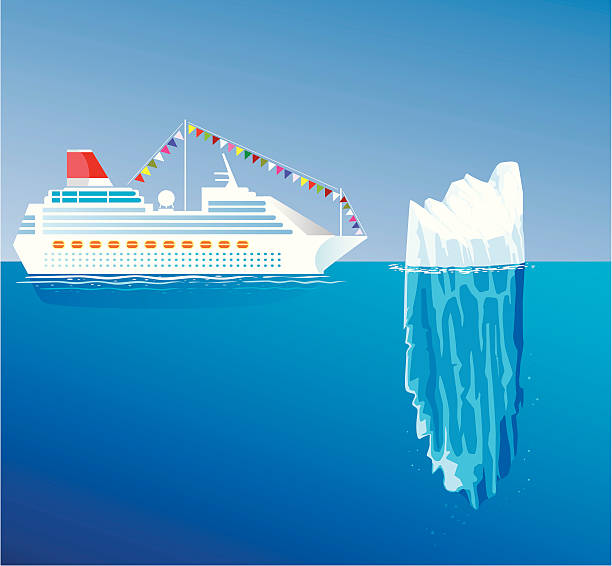 ship and iceberg - antarctica travel stock illustrations