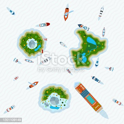 Various ships and motorboats around three islands in the ocean view  from above abstract vector illustration