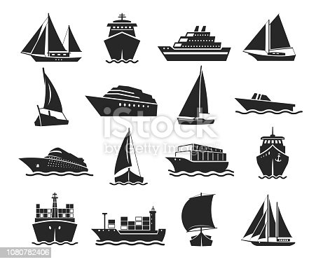 Ship and marine boat black silhouette set. Small and large seagoing vessels. Vector line art illustration on white background