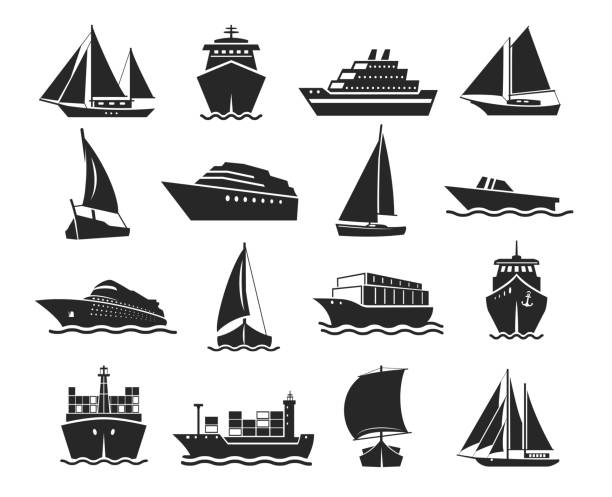 Ship and marine boat black silhouette set Ship and marine boat black silhouette set. Small and large seagoing vessels. Vector line art illustration on white background cruise vacation stock illustrations