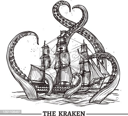 Giant octopus catches old style sail ship hand drawn vector illustration