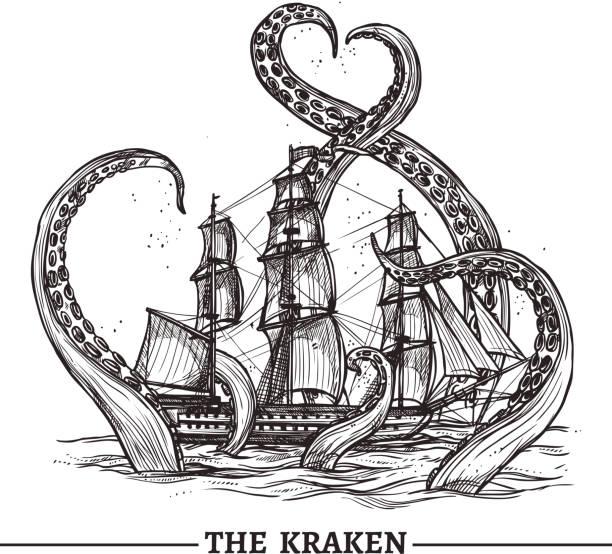 Schiff und Oktopus – Vektorgrafik