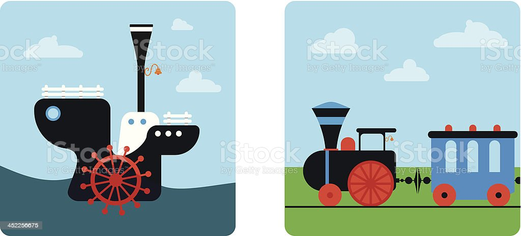 ship and  train royalty-free stock vector art