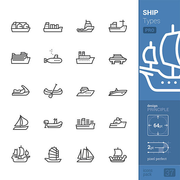 Ship and Vessel types, Outline vector icons - PRO pack ベクターアートイラスト