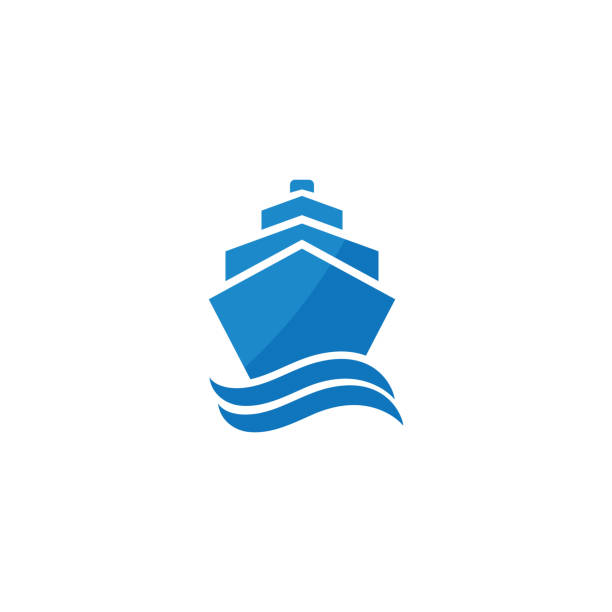 Ship and wave logo design template Concept logo for transportation at sea cruise vacation stock illustrations